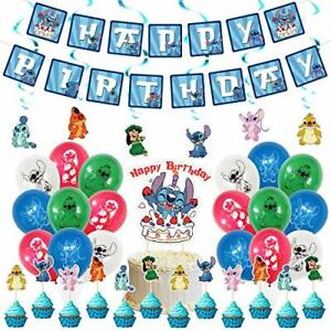 Used for Lilo and Stitch Birthday Party Decoration Birthday Banner Cake Toppe...