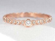 Bezel Set Diamond Bead Half Eternity Stacking 14K Rose Gold Engagement Ring