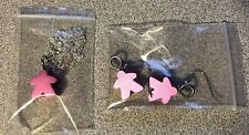 Pink Meeple Jewelry Set Earrings and Necklace Anodized Aluminum New!  Game
