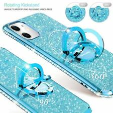 iPhone 11 Case Glitter Luxury Diamond Rhinestone Funcy Ring Grip Thin Girly Blue