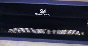 Swarovski Crystal Black Leather Strap Ladies Bracelet 18cm Jewellery