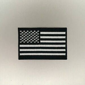 Grey US Flag Patch - Iron On Badge Embroidered Motif - Gray USA Military #123