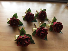 Wedding rose (burgundy) buttonholes x 6 diamante or pearls gold ribbon bow