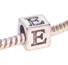 Epsilon Symbol Uppercase Greek Letter E Numeral Cube Charm for European Bracelet