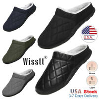 Mens Winter Faux Fur Soft Lining House Slippers Cozy Warm Waterproof Shoes 5-13