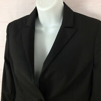 Express womens size 2 striped black one button peak lapel vented suit blazer EUC