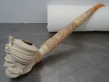 Ältere grosse Meerschaum Pfeife geschnitzte Sultan Motiv Pipe Meerschaumpfeife