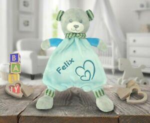 💙 Schmusetuch Bär mit Namen 💙 Kuscheltier türkisblau Babys Jungen bestickt neu