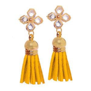 Tassel Earrings Yellow Dangle Stud Earrings Crystal Women Fashion Ear Jewelry