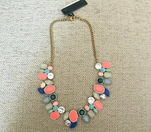 J.Crew Colorful Fiesta Statement Necklace Blues NEW j3925 crystals stones