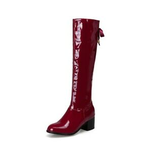 Women's Knee High Boots Patent Leather Chunky Heels Round Toe Casual Shoes Zip