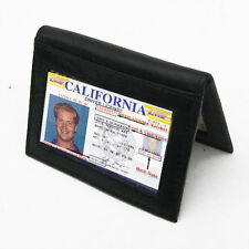 Black Genuine Leather Thin Credit Card ID Window Business Card Wallet FREE SHIP