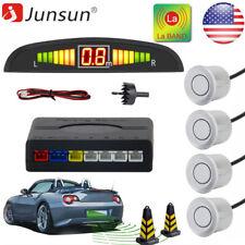 JUNSUN 4x Silver Parking Sensors Kit for Car Audio Buzzer Alarm LED display
