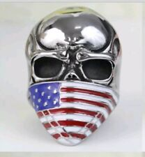 Ex large Men's Stainless Steel Skull USA Flag Skull Ring Size 13