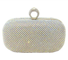 Anthony David Silver Metal Ring Clutch Evening Bag with Aurora Borealis Crystals