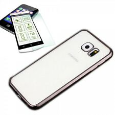 Metal Silikoncase Schwarz + 0,3 H9 Panzerglas für Samsung Galaxy S7 G930F Tasche