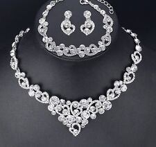 Wedding Bridal Austrian Crystal Necklace Earring Bracelet Jewel Set Party Formal