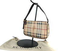 Authentic BURBERRY LONDON PVC Canvas Leather Beige Pouch Hand Bag BS0308