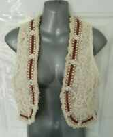 ❤ TOP QUEENS 8 Ivory Brown Lace Boho Open Ethnic Waistcoat Blouse Top Festival