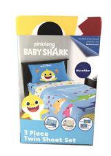 Baby Shark 3 Piece Twin Sheet Set Pinkfong Noo Childrens Bedding Sheets New