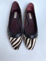 Women's Marc Jacobs ballet Flats zebra Print Pony Hair Size 7 1/2 Point Toe