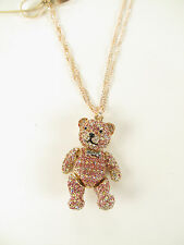 NEW Betsey Johnson Rose Gold-Tone Pave Bear and Bow Pendant Necklace $65