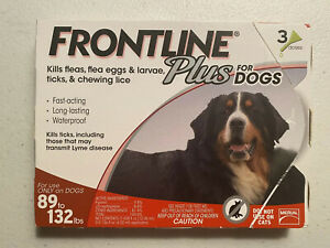 Frontline Plus for Dogs 89-132 lbs. XL  - 3 Doses - USA EPA Packaging