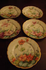 John Mortlock Antique 5 plates decorated in different flowers & gold rim [sets]