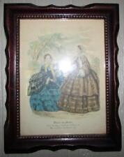 "Vintage / Antique Walnut Frame with Victorian Fashion Print ""Miroir des Modes"""