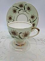 VINTAGE TAYLOR & KENT BONE CHINA DAISY CUP & SAUCER PALE GREEN /GOLD TRIMMED