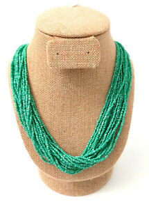 Green Seed Bead Necklace Multiple Strands Fabric Wrapped Ends Long Over Neck