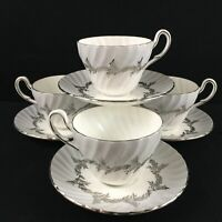 Set of 4 VTG Cups and Saucers EB Foley Silver Fern Platinum Trim Laurel England
