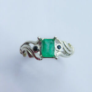 Natural Colombian Emerald 925 Sterling silver / Gold 9ct 14k 18k ring all sizes