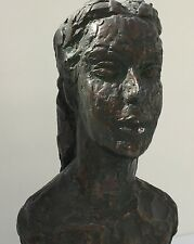 Bronze Over Plaster Bust Of Woman Signed Helaine Blum Copyrighted Reproduction