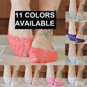 5 Pair Swirl Lace No Show Low Cut Womens Slipper Wedding Socks - Choice Color