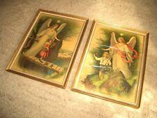 Heiligenbilder Schutzengel Steg Kinder Gott schütze unsere Kinder Holzrahmen gol
