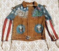 Tony Alamo Rhinestone Jacket United States Patriotic 1987 Rare Leather Fringe
