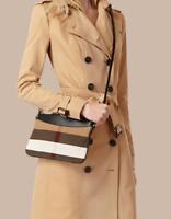 NWT Burberry Canvas Check Peyton Wristlet Crossbody Bag , BLACK