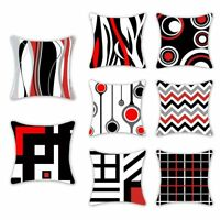 Creative Geometric Pillow Case Waist Throw Cushion Cover Home Decor Black Red