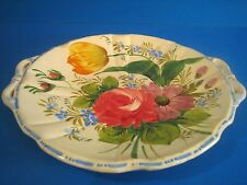 Italy 26 Faience Round Tray Cake Plate w Handles Ribbed Scalloped Floral Tulip