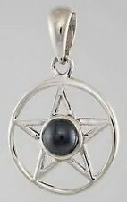 PENTAGRAM HEMATITE 25mm 925 STERLING SILVER Wicca Pagan Witch Goth PROTECTION