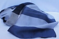 New Burberry Mega Check Satin Silk Scarf Blue Logo Multi Shawl