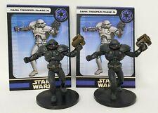"Wizards Star Wars Miniatures Lot of 2 Dark Trooper Phase III w/ Cards 2"" Figure"