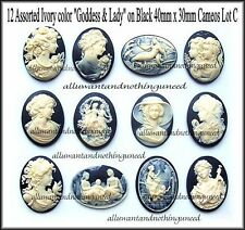 12 Pretty Mixed IVORY color LADY GODDESS on BLACK 40mm x 30mm craft CAMEOS LOT C