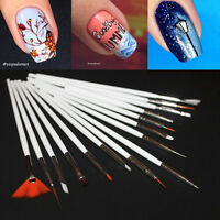 15pcs/Set Flat Dotting Painting Drawing Liner Fan Brush Nail Art Manicure Pen