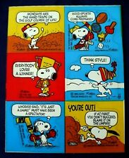 VINTAGE PEANUTS SNOOPY SPORTS STICKERS 3 SHEETS 18 STICKERS HOCKEY GOLF