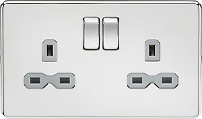 Screwless 13A 2G DP switched socket - polished chrome with grey insert