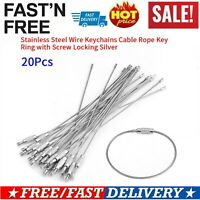 20PCS Stainless Steel Screw Locking Wire Keychain Cable Keyrings Key Holders