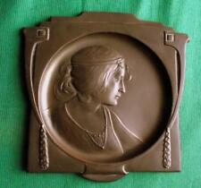 Original c1900 Unmarked Copper WMF Art Nouveau Maiden Beauty Card Tray Plaque A