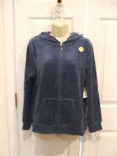 Nwt Made For Life  Hooded Sweatshirt Womens Zip ENSIGN Blue Velour TALL SMALL